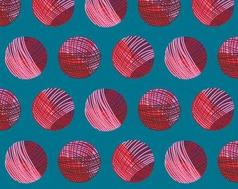 Yarn Fabric - Yarn Balls By Dearchickie - Yarn Blue Red Circles Geometric Cotton Fabric By The Yard With Spoonflower