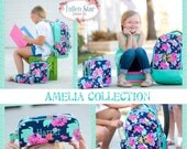 Girls Personalized Backpack, Back To School, Girls Lunchbox, Monogrammed Backpack & Lunchbox, Personalized Backpack  Lunchbox AMELIA