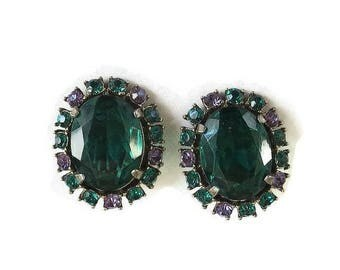 Emerald Green Cut Glass & Rhinestone Earrings with Green and Purple Vintage