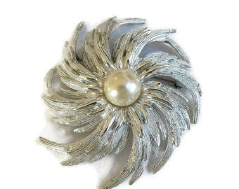"SALE Swirl Faux Pearl Brooch signed Sarah Coventry Vintage ""Hurricane Swirl"""