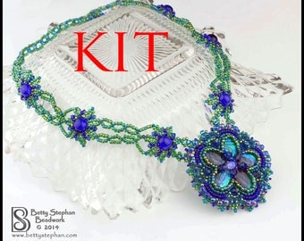 KIT- Princess Necklace blue bead embroidered