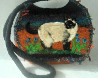 Felted Purse, Felted Handbag, Siamese Cat, Cat Art, Needle Felt Cat, Fiber Art, Custom Cat Portrait, Cat Painting