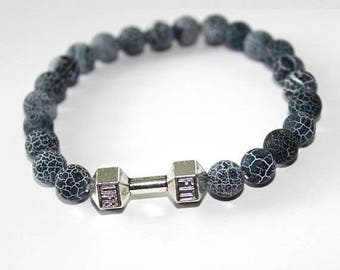 25% OFF - Effloresce Agate Stone Bracelet for men / 8mm beads with Silver Dumbbell Spacer / Gemstone Bracelet / Yoga Bracelets / Mens Jewelr