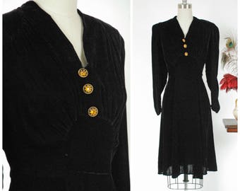 Vintage 1930s Dress - Plush Jet Black Silk Velvet Late 30s Cocktail Dress with Peaked Shoulders and Ruched Bust