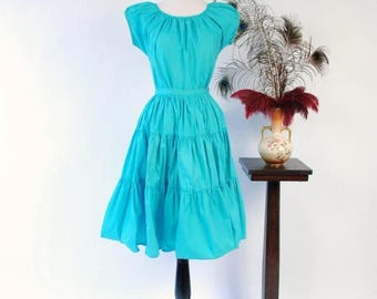 50% CLEARANCE Vintage 1950s Patio Dress Set - Bright Turquoise Cotton 50s Skirt and Peasant Blouse Set