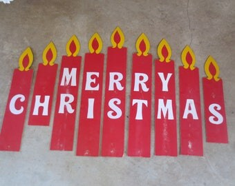 SALE Vtg Wooden Candles / Merry Christmas / Wall Decor / Lawn Decor / Large wooden Painted Candles / Tall wooden painted candles / holiday
