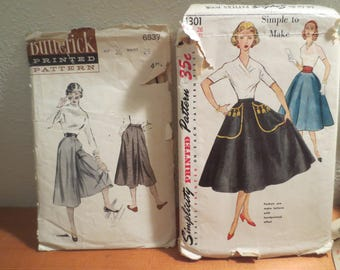 Two Vtg Patterns / 1950s Simplicity 4301 Skirt / Butterick 6537 Culotte Skirt / Hip 35 Waist 26 / Printed Pattern / pattern and instructions