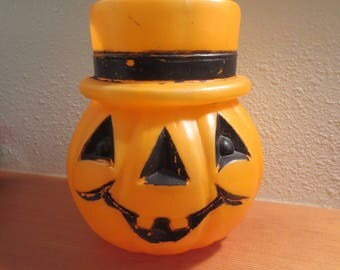 "Halloween Blow Mold Plastic Trick Treat Pumpkin / Plastic Orange Halloween Pumpkin / Pumpkin with Top Hat design 9"" tall"