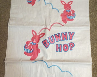 Vtg Easter Bunny Hop Potato Sacks / Easter Decor / Bunny Hop Bags / Easter Day Activity