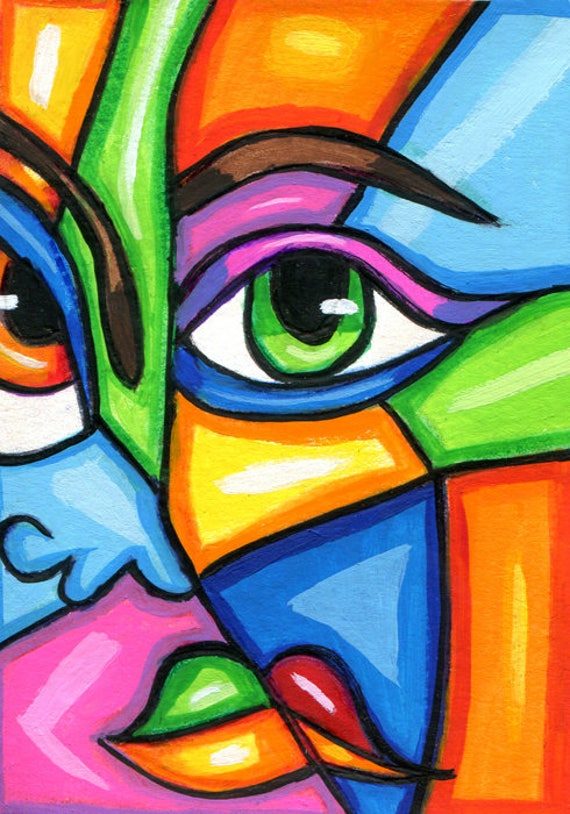 abstract face cubist ORIGINAL ACEO painting ATC miniture modern contemporary Colorful World artwork by Elizavella