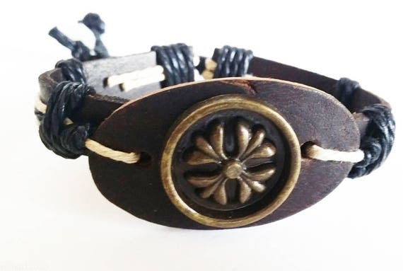 flower charm black leather cuff bracelet hippie boho womens jewelry adjustable