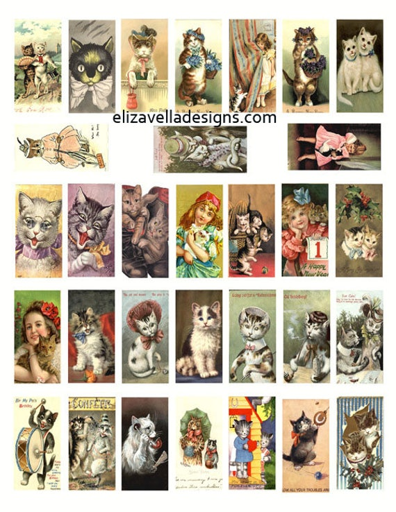 "kitty cats kittens little girls digital download COLLAGe sheet 1"" x 2"" inch image graphics CLIPART vintage art craft papers printables"