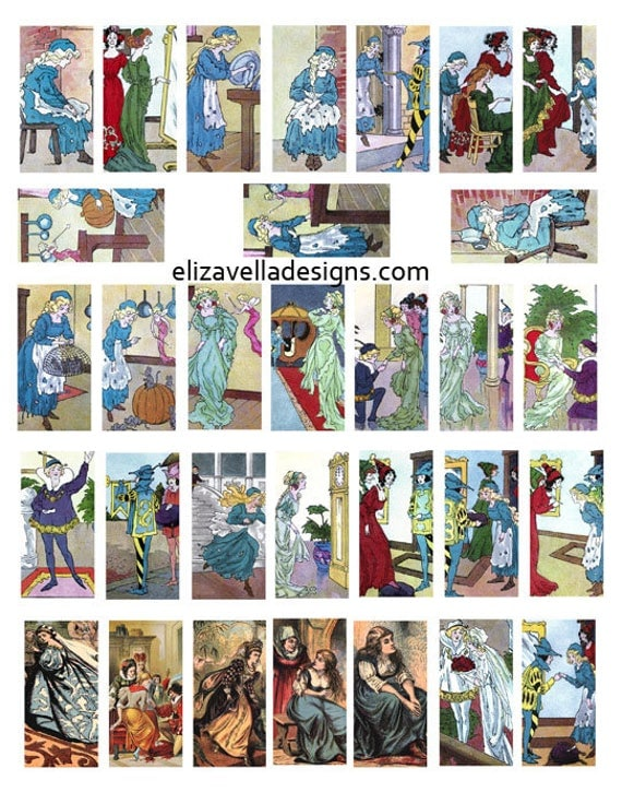 vintage Cinderella fairy tale domino collage sheet 1 x 2 inch graphics images book art illustrations clipart digital download printable