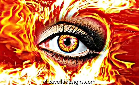 flaming eye fire abstract printable wall art instant download printable art digital download flames art printable wall decor