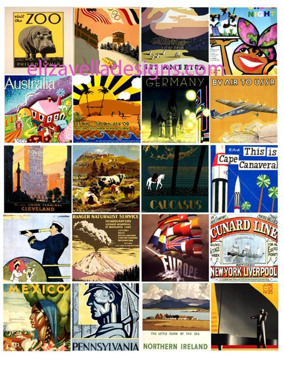 travel posters vacation vintage art 2 inch squares digital download Collage sheet graphics images printables world travel