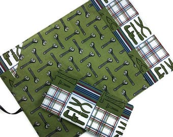 Roll up lunch placemat with cutlery pocket + reusable cotton napkin set, cloth placemat, gift for boys men, masculine tools, school travel