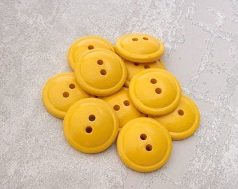 Golden Yellow Buttons, 19mm 3/4 inch - Happy Mustard Yellow Sewing Buttons - 10 VTG NOS Glossy School Bus Yellow Plastic Buttons PL403 2LS