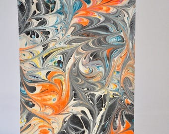 Hand Marbled Paper for Love Letters, Writing or Bookmaking Black Grey Orange Blue MM-P3