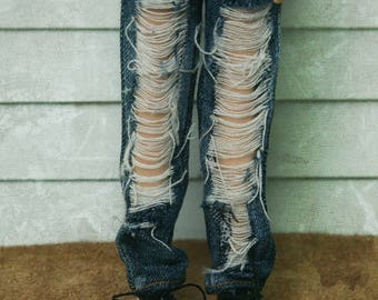 Jiajia Doll Vintage big ripped style Jeans in wahsed color fit momoko blythe azone misaki jerryberry yosd