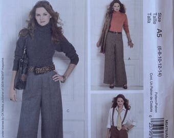 McCall's M5476 Sewing Pattern Misses' Pants and Suspenders Slightly Flared Pants Waistband and Cuffs Front Pleats UNCUT FF Sizes 6-14
