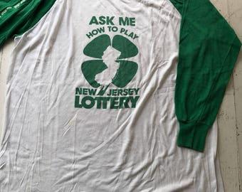Vintage Baseball Tshirt / Vintage Tshirt / 1980s Tshirt / New Jersey Tee / Soft Vintage Tee / Lottery tee / Grunge tee / New Jersey Lottery