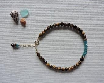 Tiger's eye & blue apatite gemstone bracelet - summer stacking bracelet - layering bracelet - apatite bracelet