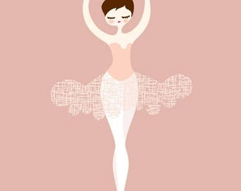"SUMMER SALE 8X10"" ballerina en pointe giclée print. mauve pink,magenta, dark brunette."