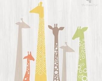 "SUMMER SALE 12X12"" giraffe silhouettes giclée print on fine art paper. pastel rainbow, yellow, peach, taupe gray, sage green. paint texture"