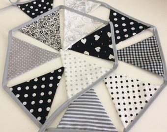 Small flag Grey black and white bunting, Fabric Garland, Flag banner, Cake Smash banner, 5ft of flags