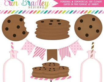 80% OFF SALE Pink Milk and Cookies Clip Art Commercial Use Clipart Graphics