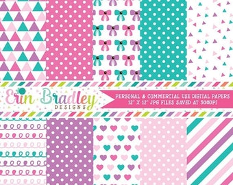 80% OFF SALE Baby Girl Pinks Digital Scrapbook Paper Pack Instant Download Commercial Use Digital Paper Triangle Polka Dotted Bow Heart Dood