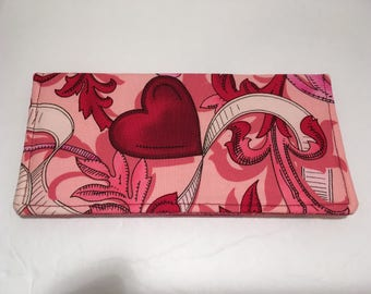 Pink Red Valentine Hearts Checkbook Cover