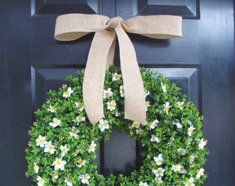 SUMMER WREATH SALE Spring Boxwood Wreath St. Patrick's Day Wreath, Potatoes and Burlap Year Round Boxwood Wreath with Burlap or Satin Bow