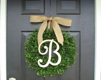 SUMMER WREATH SALE Faux Boxwood Wreath, Monogram Wreath, Outdoor Door Wreath, Ready to Ship, Fall Wreaths, Year Round Wreath, Spring Wreath