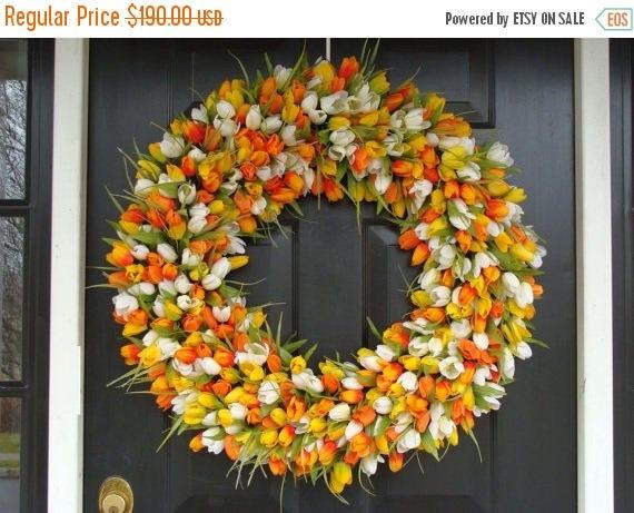 SUMMER WREATH SALE Mini Tulip Spring Wreath- 28 inch Tulip Wreath- Spring Wreath for Door (16-24 inch Sizes Also Available)- Summer Wreath