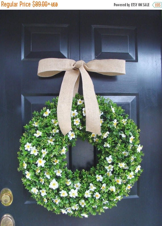 SUMMER WREATH SALE Spring Wreath, Spring Boxwood Wreath, St. Patrick's Day Wreath, Year Round Boxwood Wreath with Silk Flowers 20 inch