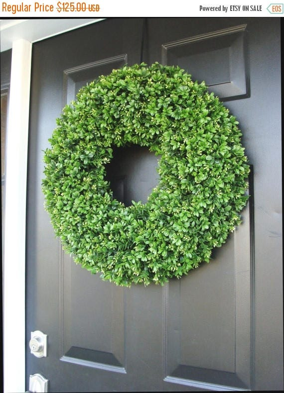 SUMMER WREATH SALE Year Round Wreath, Front Door Decor, Faux Boxwood Wreath, Outdoor Boxwood, Green Apple, Home Decor, Dining Room Wall Deco