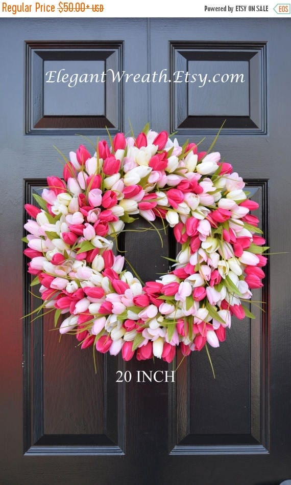 SUMMER WREATH SALE Spring Wreath- Tulip Spring Wreath- Summer Wreath- Custom Front Door Wreath- Spring Decor- Easter Decoration- Outdoor Wre