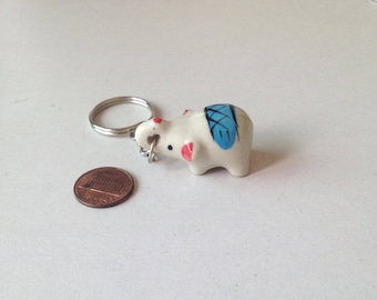 Miniature Elephant, ceramic elephant, ceramic animal, miniature animal, blue elephant, mini, little, tiny, elephant figure, keychain