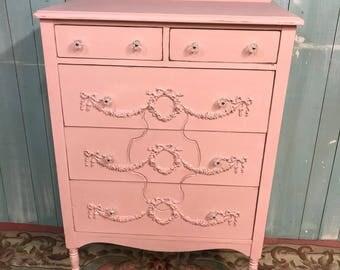 Antique tallboy dresser shabby chic beach cottage Pink