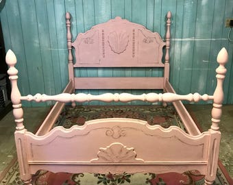 Antique full bed pink shabby chic distressed