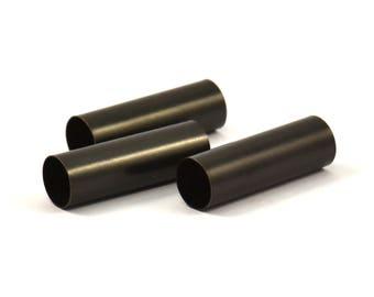 Black Tube Beads - 7 Oxidized Brass Tubes (8x25mm) Bs 1545