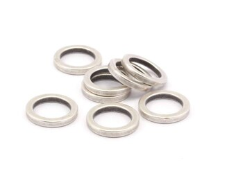 14mm Silver Circles, 12 Antique Silver Plated Brass Round Rings, Charms (14x2x2mm) Bs 1346 H029