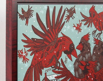 Cardinal Woodcut, large wall art, framed in red stained curly maple hardwood