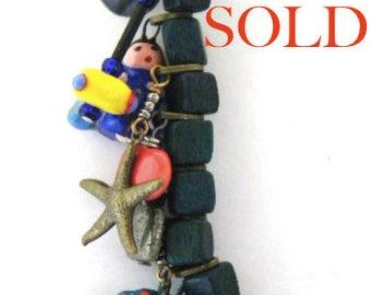 """Treasure Necklace 25""""- Jangle-Teachers-Kazuri-Charms-Vintage"""