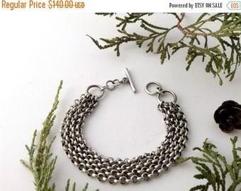 chain bracelet, sterling silver, womens bracelet, chunky multi chain bracelet, artisan bracelet