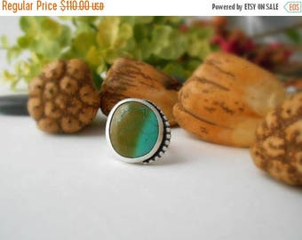 turquoise ring, sterling silver, cocktail ring, boho ring, gypsy ring, size 7, ready to ship