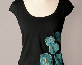 SUMMER SALE women's black shirt, scoop neck, cap sleeves, turquoise botanical screenprint