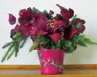 Burgundy Fuchsia and Olive Green Lily Holiday Floral Arrangement