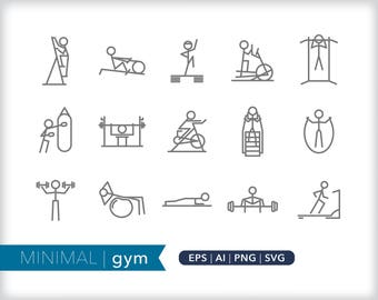 Minimal gym line icons | EPS AI PNG | Geometric Fitness Clipart Design Elements Digital Download